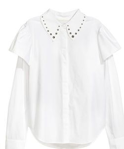 H&M white ruffled Blouse with studded collar.